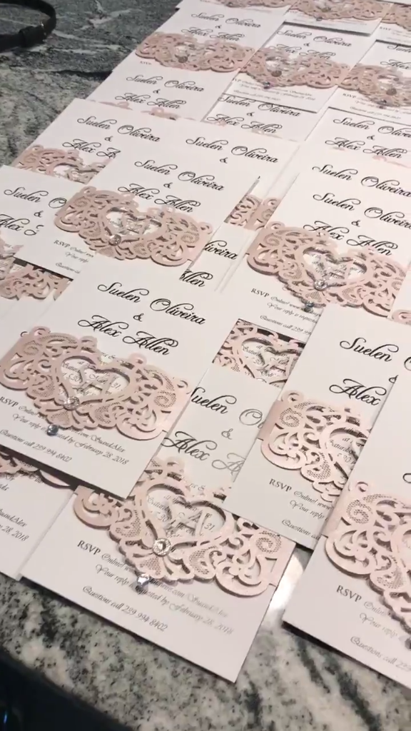 Wedding invitaton with fancy laser cut band video from ewi customer romantic blush pink laser cut monogram customized wedding invitations ewbl002 stopboris Image collections