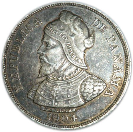 Another Panama coin (1904, .90 silver) depicting Balboa. He really looks the fierce warrior.