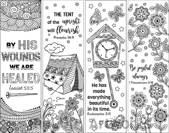 8 Printable Bible Verse Coloring Bookmarks Doodle With Inspiring Verses