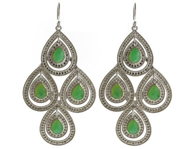 Blue Hand Home Anna Beck Design Gili Double Drop Green Stone Chandelier Earrings