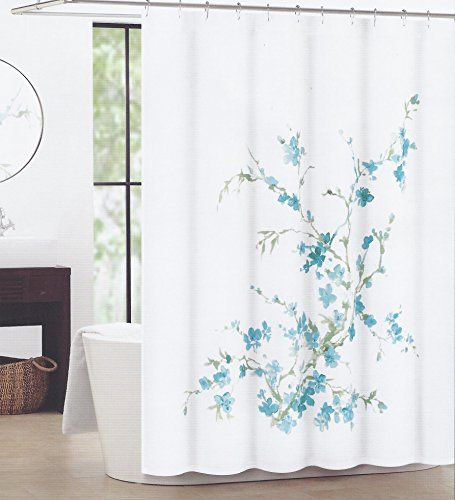 Bathroom Accessories Tahari Home Shower Curtain Printemps Sage Branches With Teal Blue Flowers Be Sure