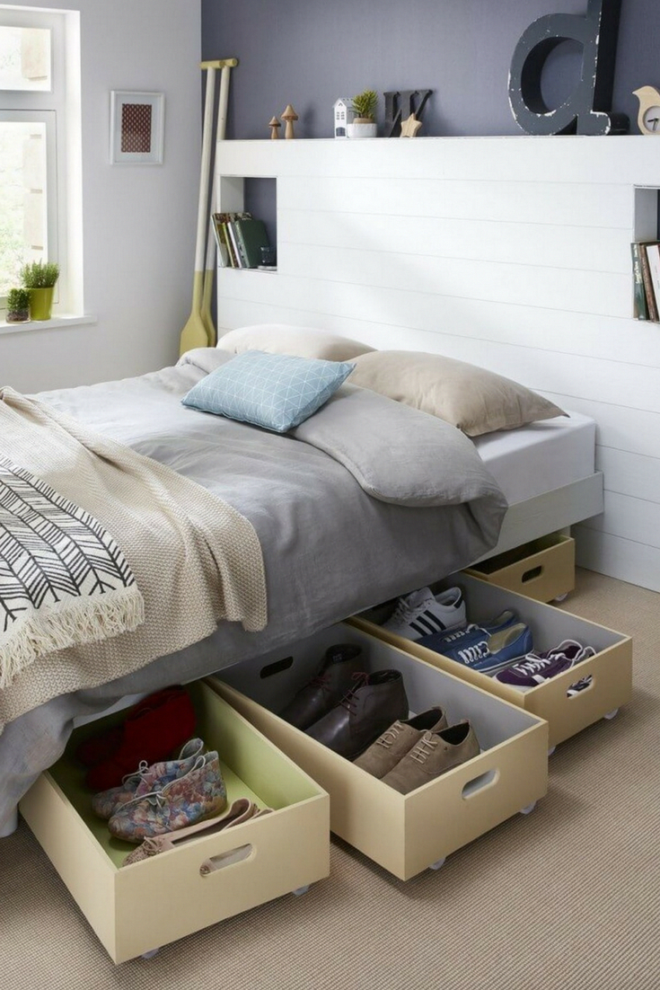 7 Small Bedroom Storage Ideas To Blow Your Mind Small Bedroom Organization Small Bedroom Storage Diy Storage Bed