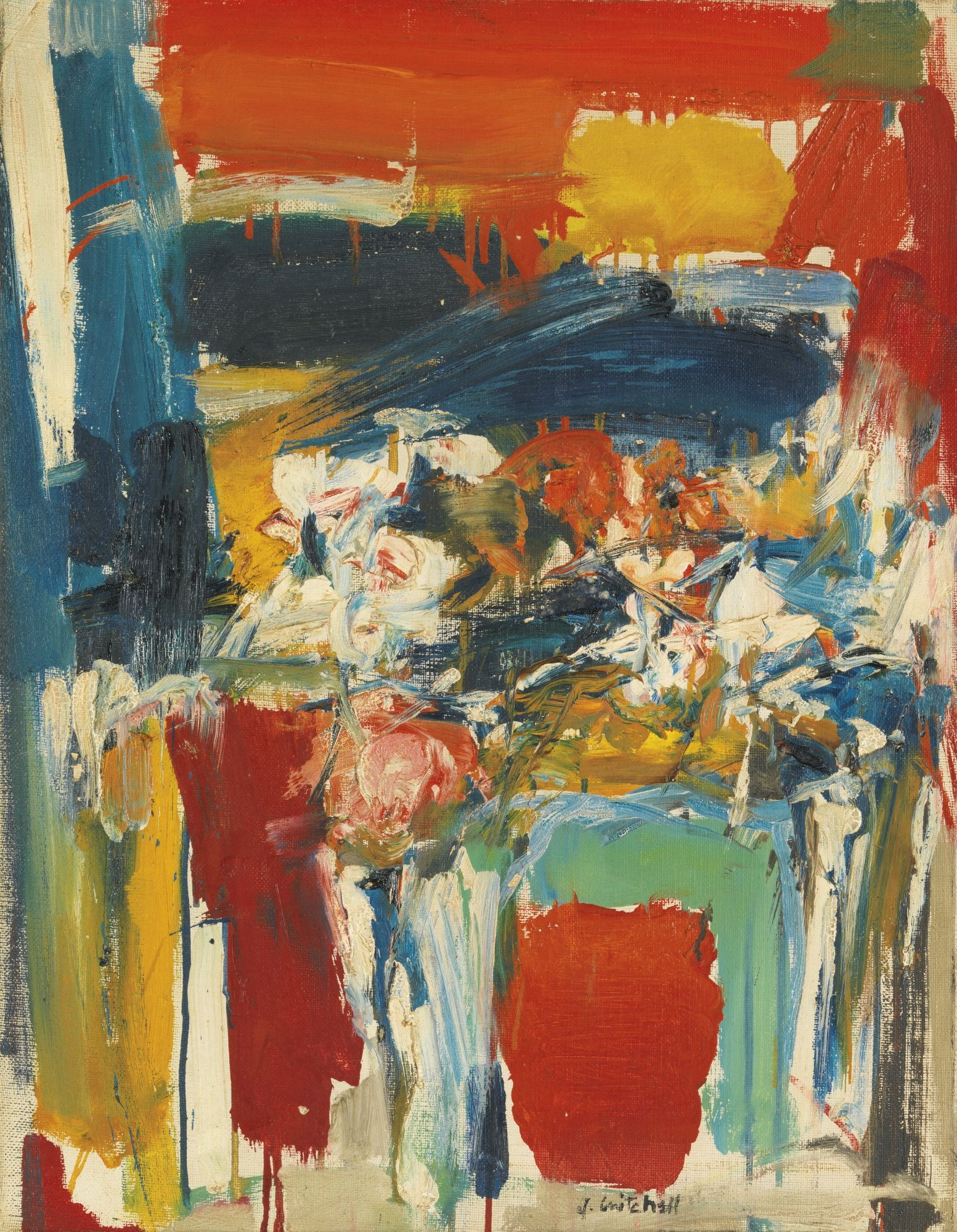 Joan mitchell untitled 1955 oil on canvas style me for Contemporary oil paintings