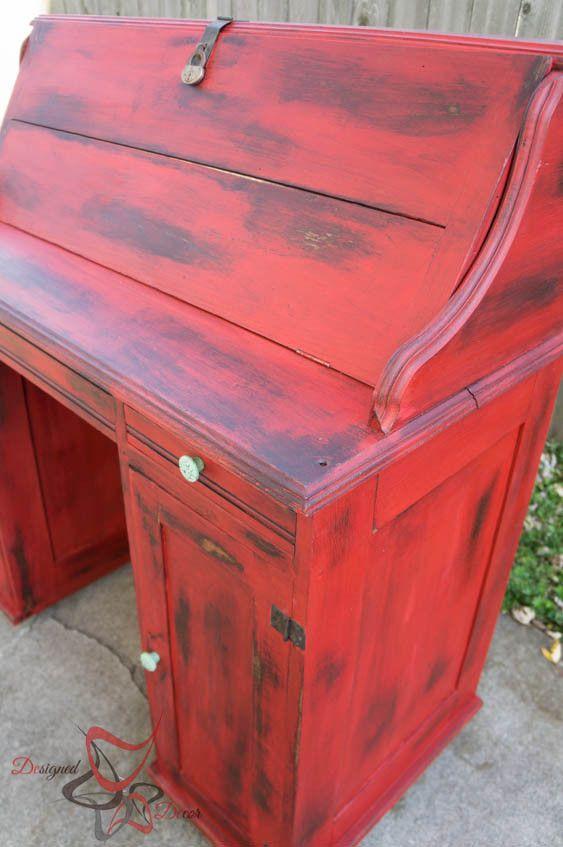 Stain over Paint Distressed Antique Desk- Cerise Vintage Furniture Paint - Vintage Desk Makeover DIY Pinterest Painted Furniture