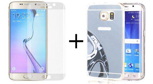 Coque samsung galaxy S6 Edge et vitre en verre trempé Samsung S6 edge, coque gel silicone, TPU effet miroir argenté, ultra fine en TPU effet miroir argenté + vitre en verre trempé courbé haute résistance