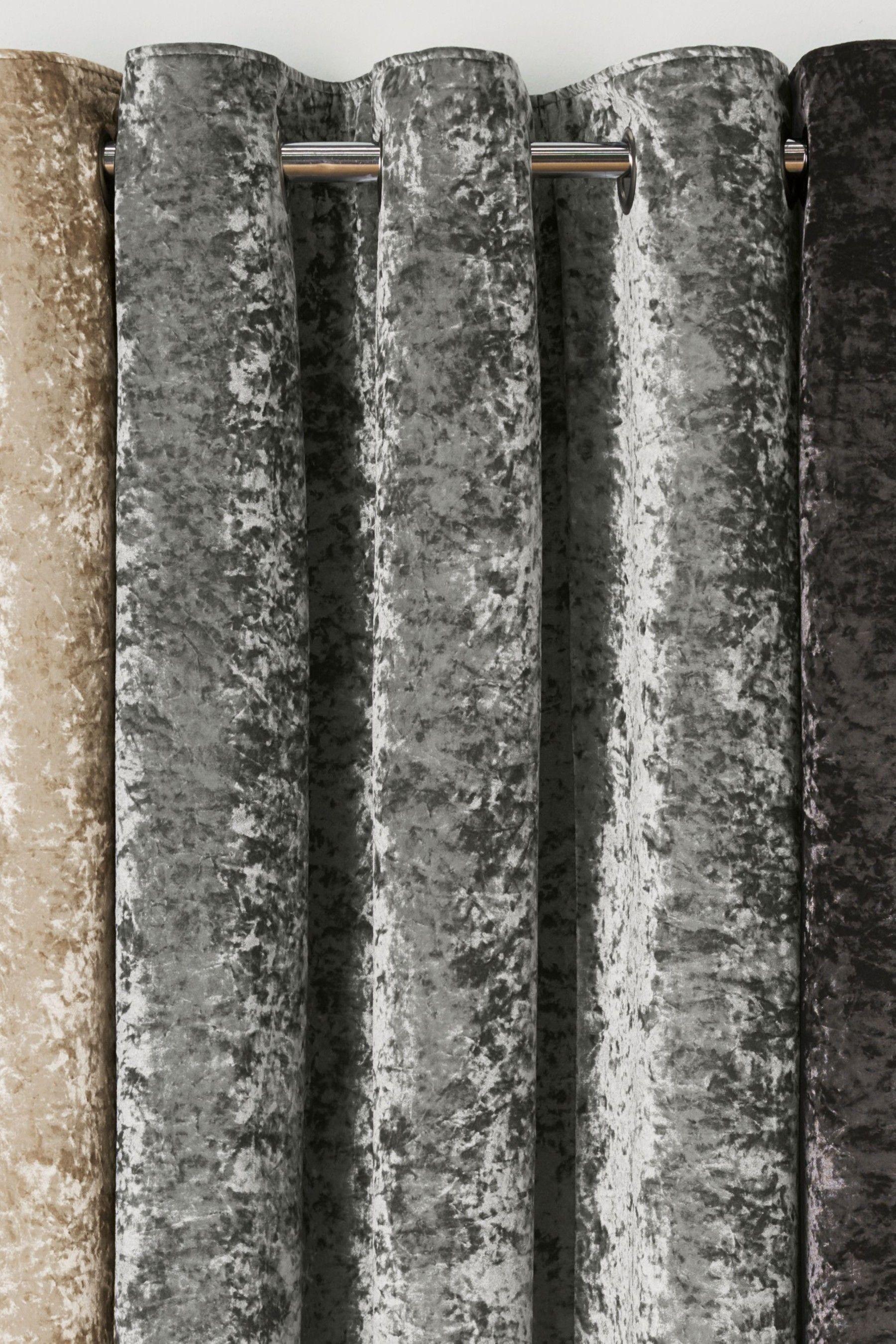 Next Crushed Velvet Eyelet Lined Curtains Grey In 2020 Velvet Curtains Grey Curtains Grey Velvet Curtains