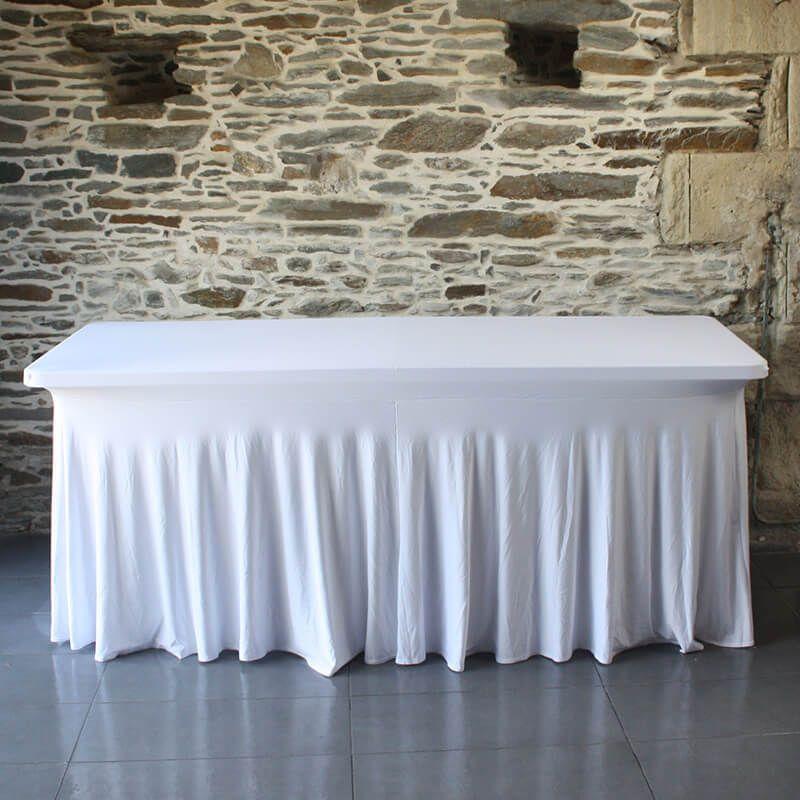 Nappe de table ou de buffet version juponn e blanche se - Nappe de table rectangulaire ...