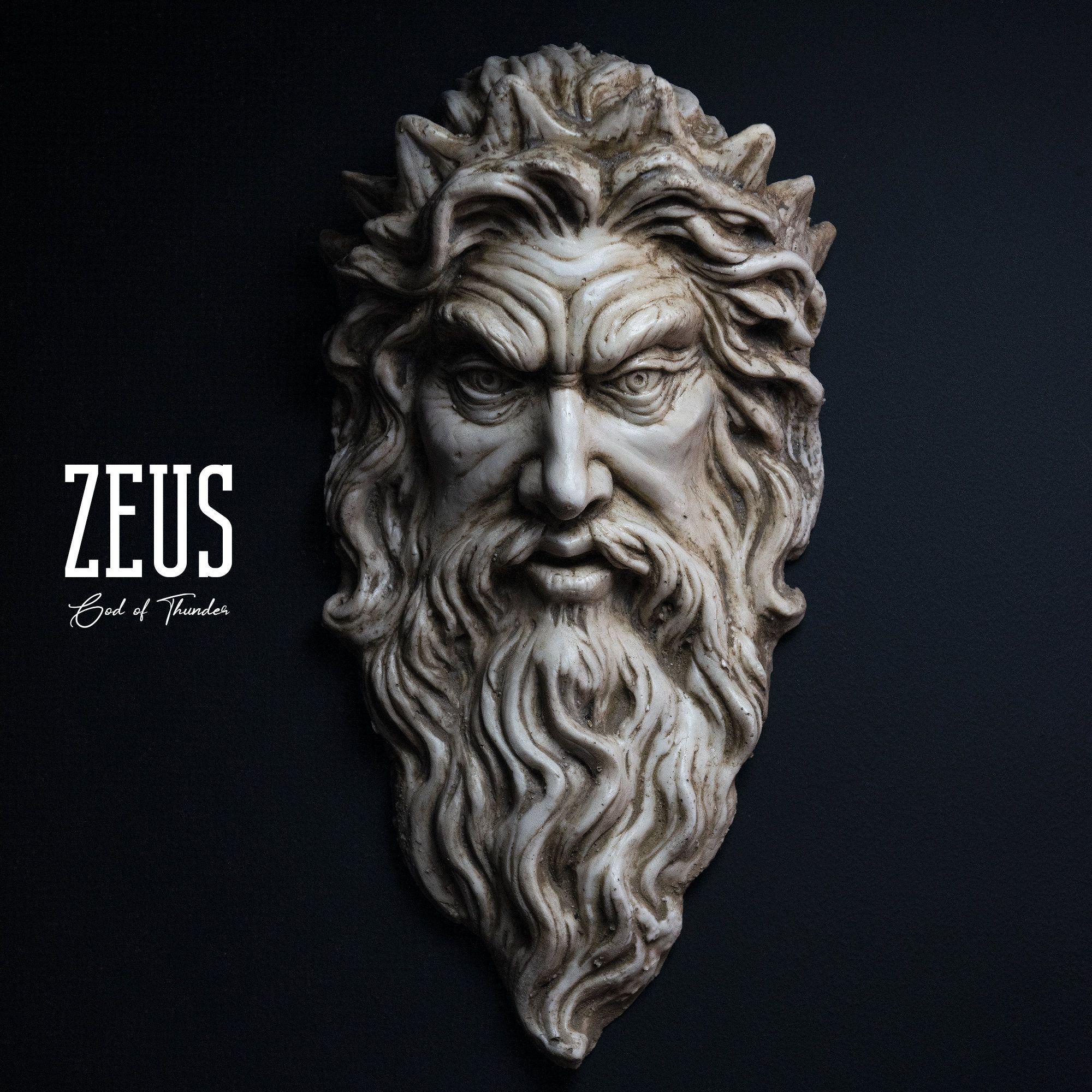 Zeus Sculpture, God of Thunder, Wall Art, Zeus Figure, Handmade, Greek God, Statue Sculpture