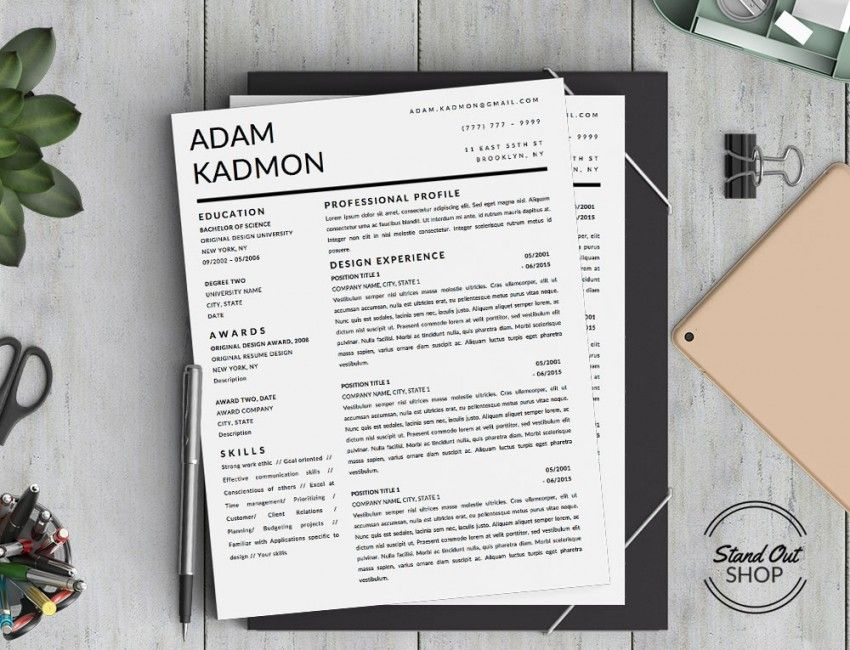 Adam Kadmon Page Resume Template For Ms Word  Stand Out Shop