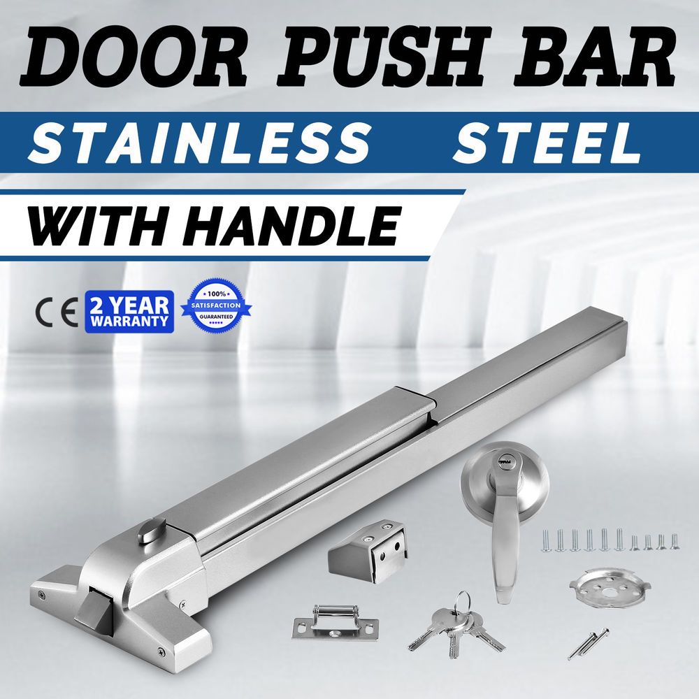 Door Push Bar Handle Panic Exit Device Lock Aluminum Rail Rim Cylinder Ebay Link Safe Lock Latches Doors