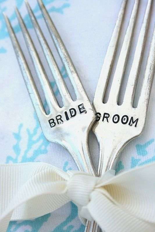 Bride and groom table marker place cards hand stamped vintage fork bride and groom table marker place cards hand stamped vintage fork set recycled silver plate sciox Images