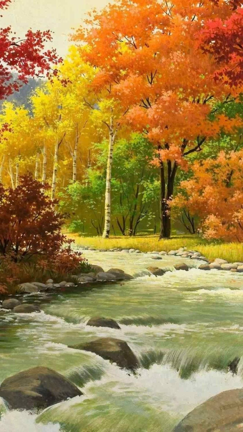 Fall Landscape Acrylic Paintings Easy Autumn Painting Landscape Paintings Autumn Landscape