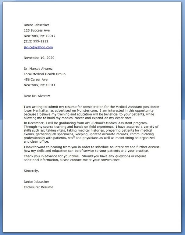 Original Papers  Cover Letter Examples Of Medical Assistant