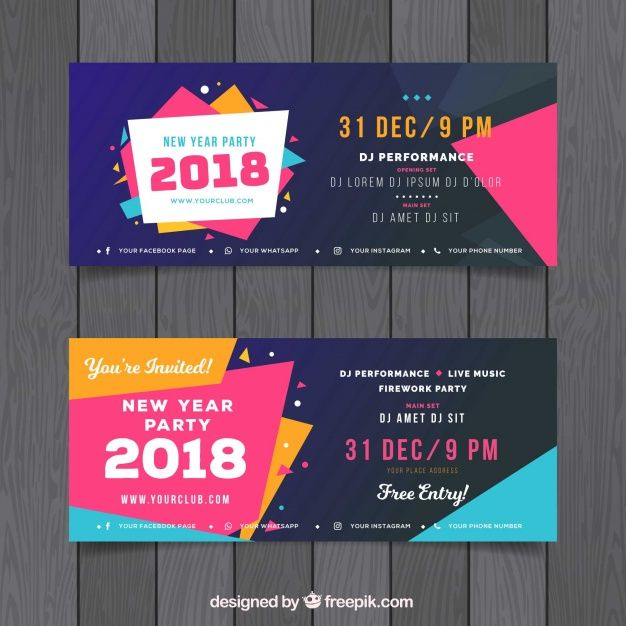 free set of colourful new year party banners freebies