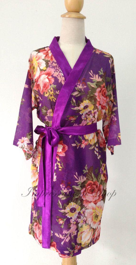 Bridesmaids robes, Bride Robe, Bridesmaids gift, Purple trimming ...