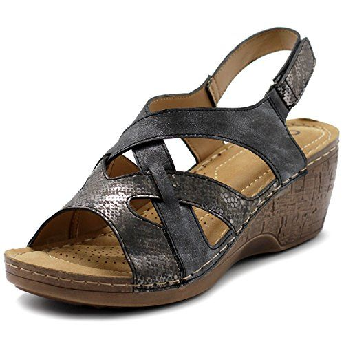 Womens Shoe Suede Velcro Strappy Wedge Sandal 7 BM US Grey * You can get additional details at the image link.