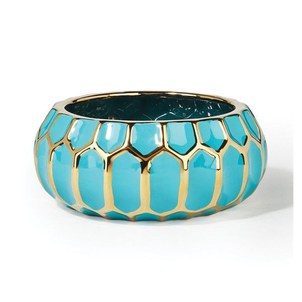 Turquoise Home Decor Accessories faceted turquoise and gold-edged bowl designtozai ($30