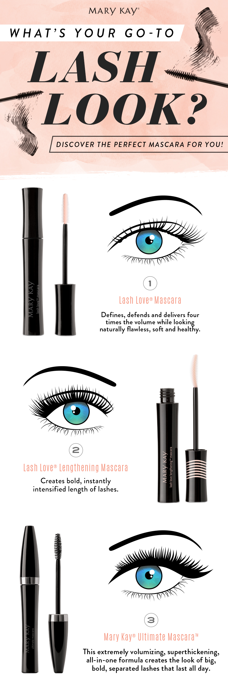 85cce0829d6 Lash Love® Mascara, Lash Love Lengthening® Mascara or Mary Kay® Ultimate  Mascara™: Which mascara catches your eye? You know you'll want them all.