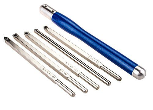Mid Size Package of 5 Carbide Simple Woodturning Tools with Interchangeable Handle for Wood Lathe (Blue Metallic Handle)  http://www.handtoolskit.com/mid-size-package-of-5-carbide-simple-woodturning-tools-with-interchangeable-handle-for-wood-lathe-blue-metallic-handle/