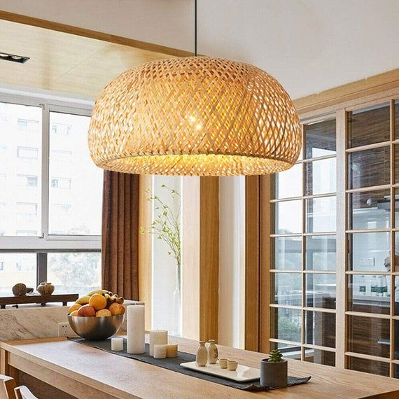 Bamboo Light Fixture,Double Layer Lamp,Rattan Lampshade,Basket Lamp Shade,Woven Light Shade,Wicker Hanging Lamp,Vintage Pendant Light