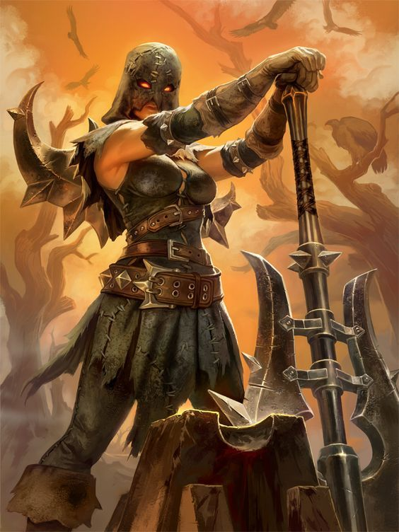 SMITE Nemesis Executioner by Scebiqu female fighter barbarian battleaxe axe armor clothes clothing fashion player character npc | Create your own roleplaying game material w/ RPG Bard: www.rpgbard.com | Writing inspiration for Dungeons and Dragons DND D&D Pathfinder PFRPG Warhammer 40k Star Wars Shadowrun Call of Cthulhu Lord of the Rings LoTR + d20 fantasy science fiction scifi horror design | Not Trusty Sword art: click artwork for source: