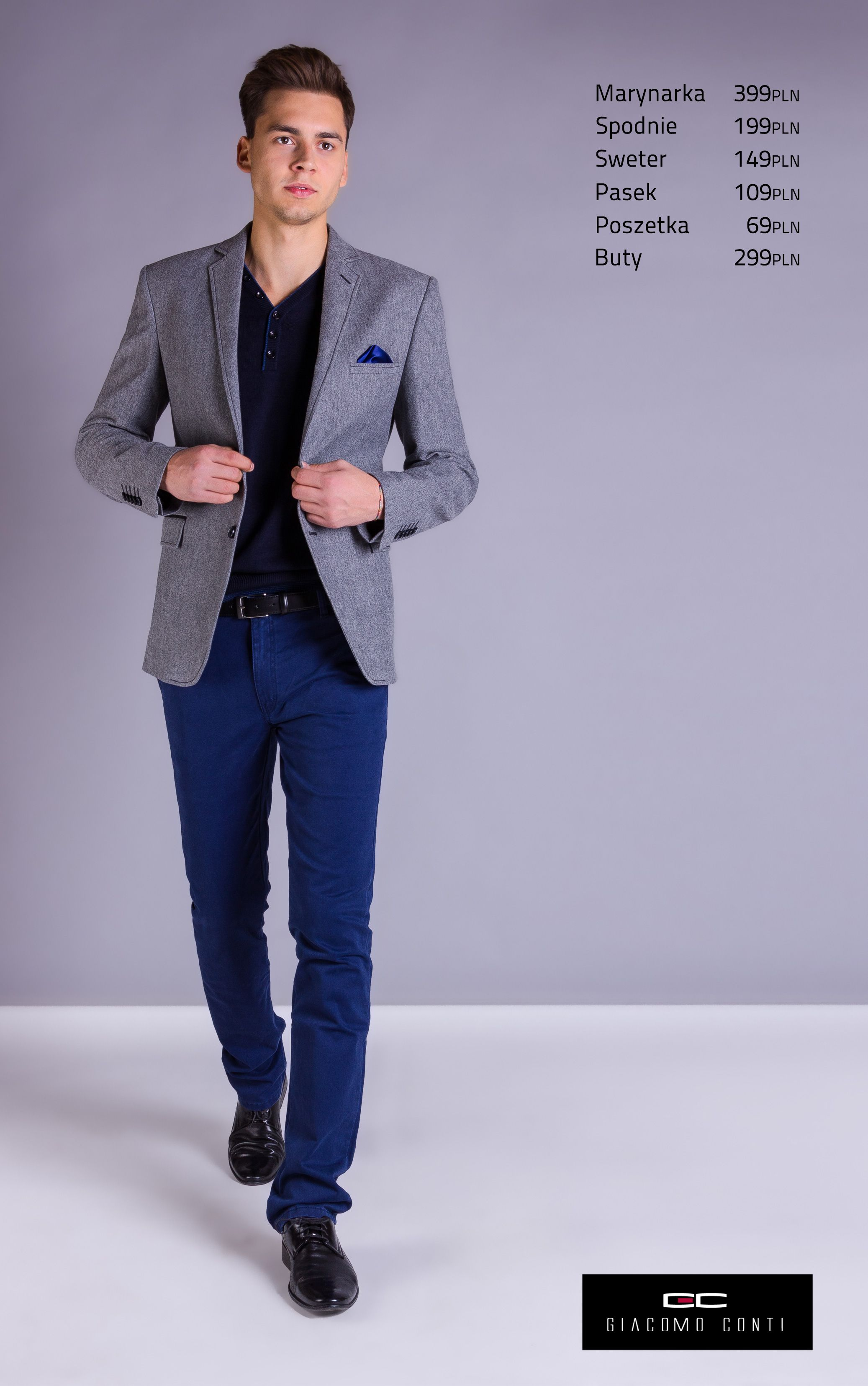 Propozycja Casualowa Giacomo Conti Z Szara Melanzowa Marynarka Antonio 13 28sm I Cienkim Granatowym Swetrem Serafino 13 78jk Giaco Men S Blazer Blazer Fashion