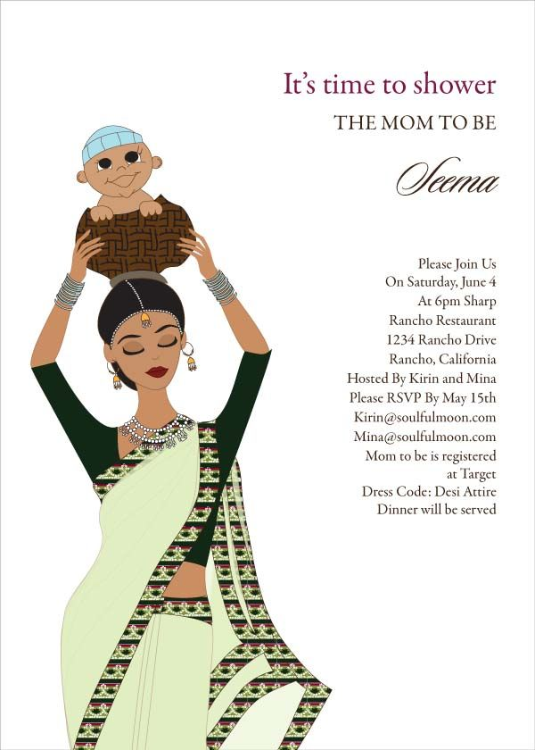 Baby Carrier Indian Baby Shower Invitation By Soulfulmoon