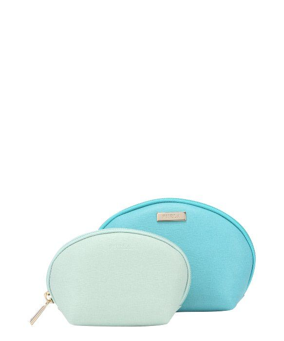Furla laguna and mint leather 'Classic' 2-in-1 cosmetic case