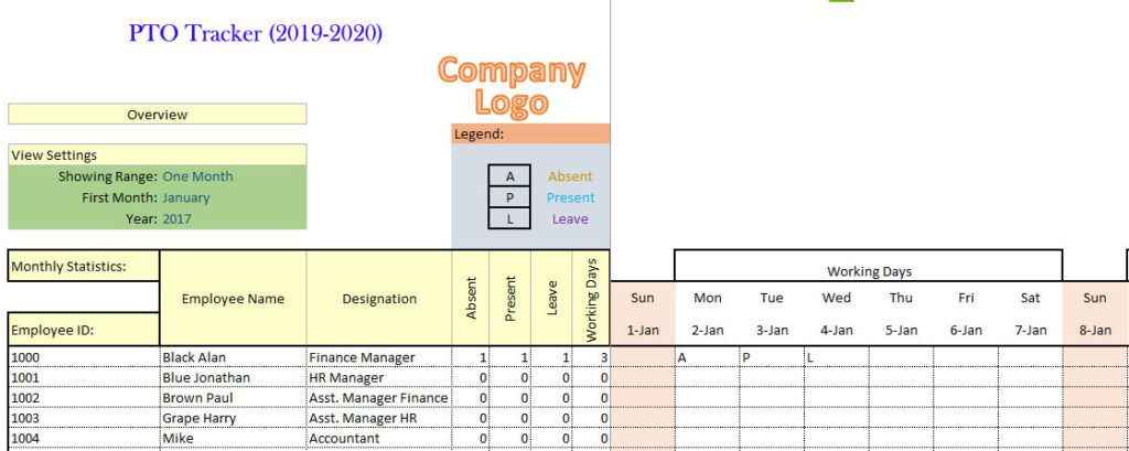 Pto Tracker Excel Looking For Employees Project Management Templates Employee Management
