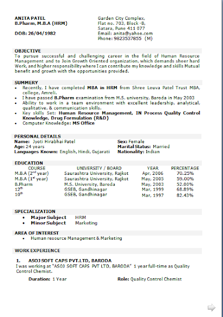 Personal Objectives For Resumes Curriculum Vitae Sample For Job Free Download Sample Template .