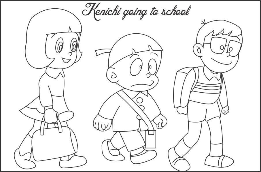 Ninja Hattori Coloring Pages Kenichi Going To School Coloring Page
