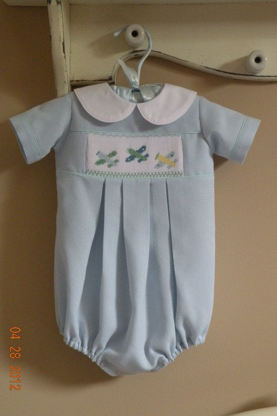 Baby Boy Hand Smocked Bubble Suit by TheSmockingGarden on Etsy, $50.00