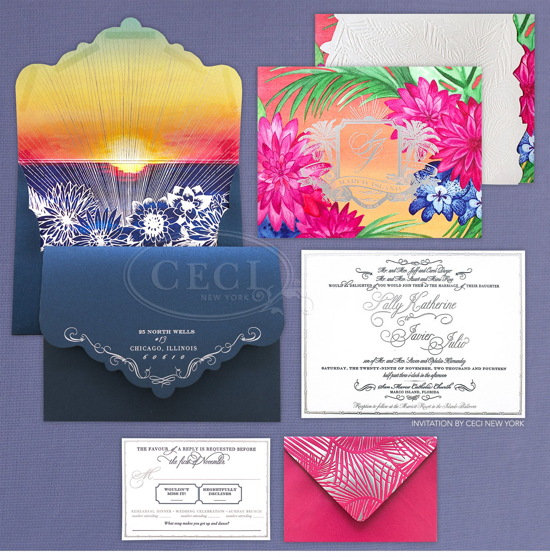 I Love The Silver Foil Against The Colorful Tropical Patterns
