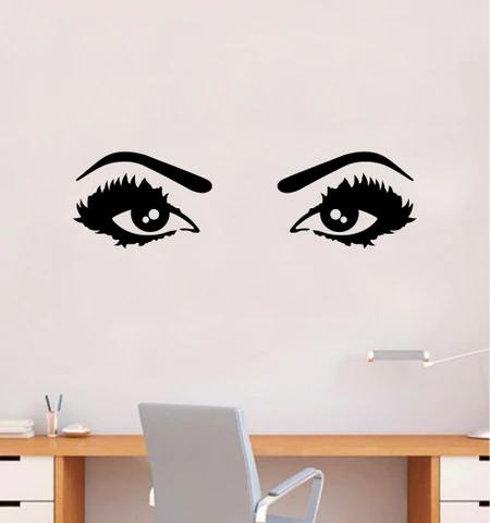 Girl Eyes V15 Wall Decal Sticker Vinyl Home Decor Bedroom Art Make Up Cosmetics Lashes Brows Eyebrows Eyelashes Vanity Beauty