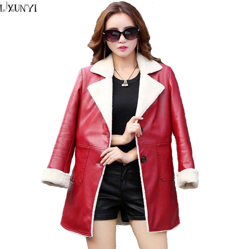 Womens Winter Lambswool Coat Leather Jacket Thick Female Lapel Coat Plus Size