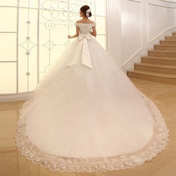 2013 Ball Gown Off-the-shoulder Cathedral Train Wedding Dress ...