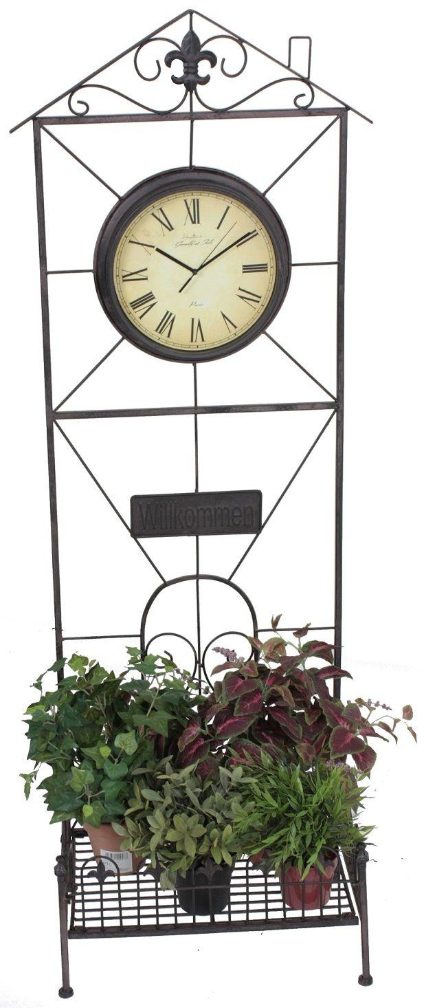 Pflanzregal Mit Uhr Metall Rost Optik Blumenregal Metallregal Dekoration Haus Wohnen Sport Freizeit Haus G Blumen Regal Blumenregal Dekoration