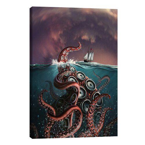 'A Fantastical Depiction of The Legendary Kraken' by Allison Pearce - Wrapped Canvas Painting Print Longshore Tides Size: 66.04cm H x 45.72cm W x 1.91
