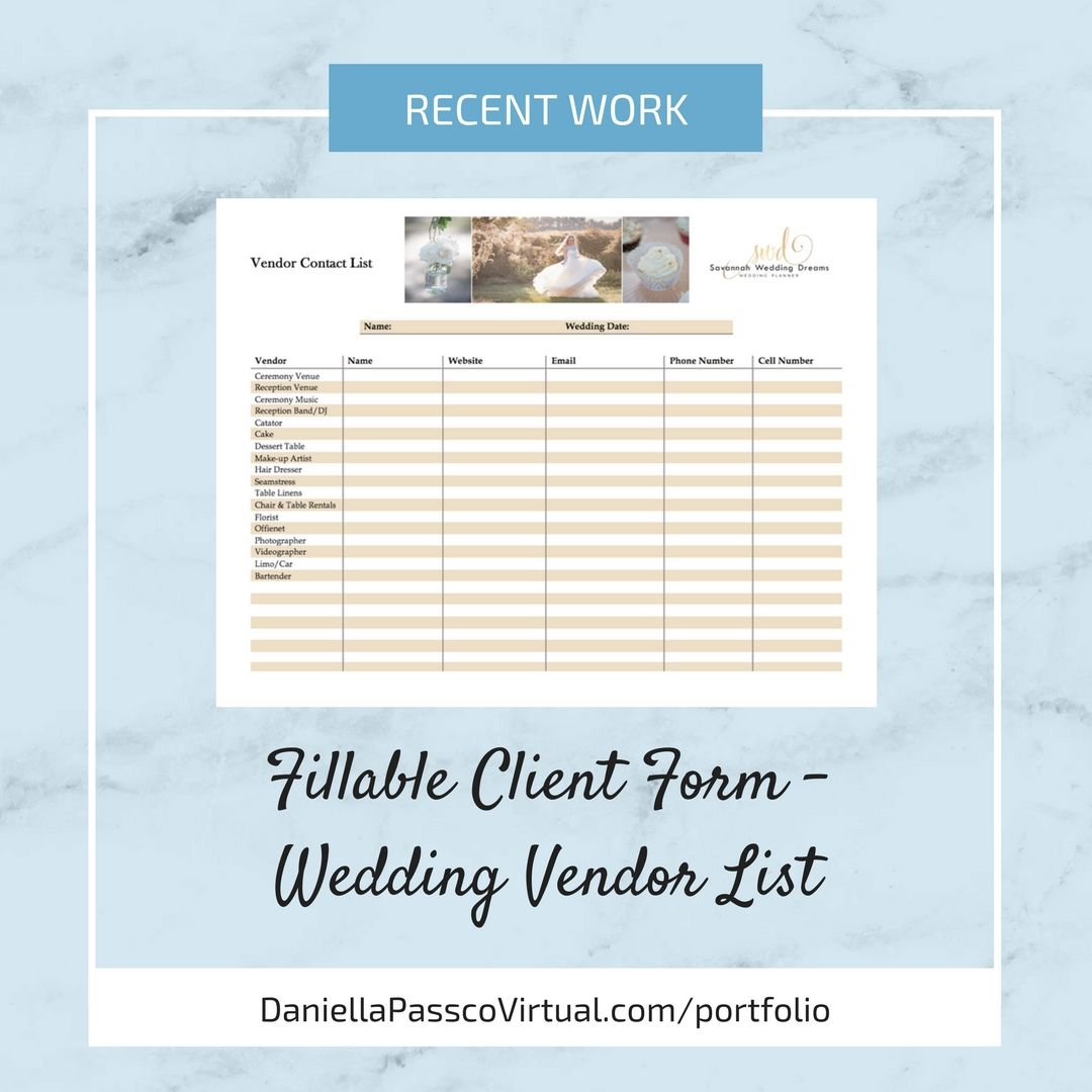 Example Fillable Client Form Template Wedding Vendor List Form