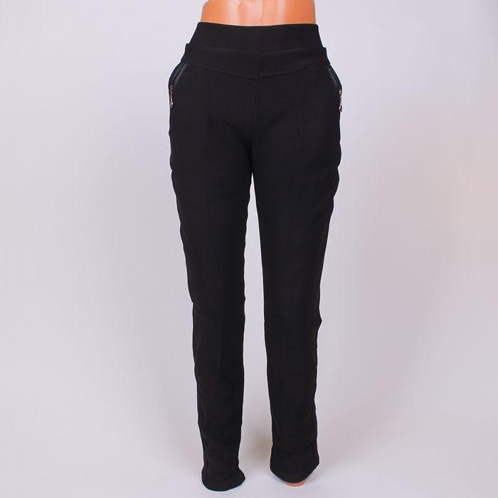 1e79cb56d42 Дамски клин-панталон в черен цвят с големи размери, подплатен с вътрешна  мека и