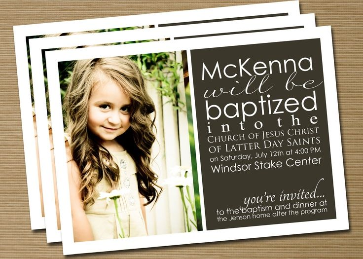 Print Your Own Boy/Girl LDS Baptism Announcement/Invitation (Jenson