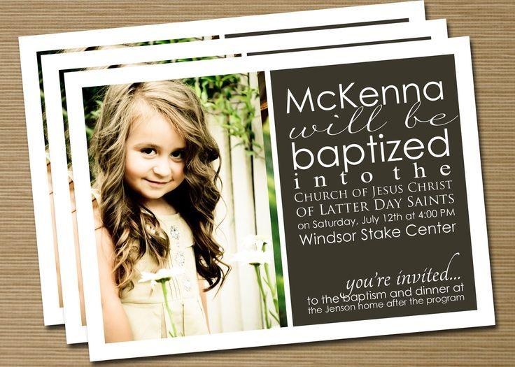 Print Your Own BoyGirl LDS Baptism AnnouncementInvitation