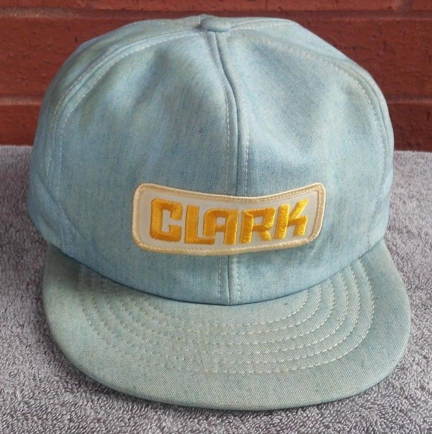 3fb32a8535052f Denim Clark Hat Cap Patch Snapback Vtg Light Blue Denim Yellow USA Cabot AR   CabotArUSA  truckerCapHat