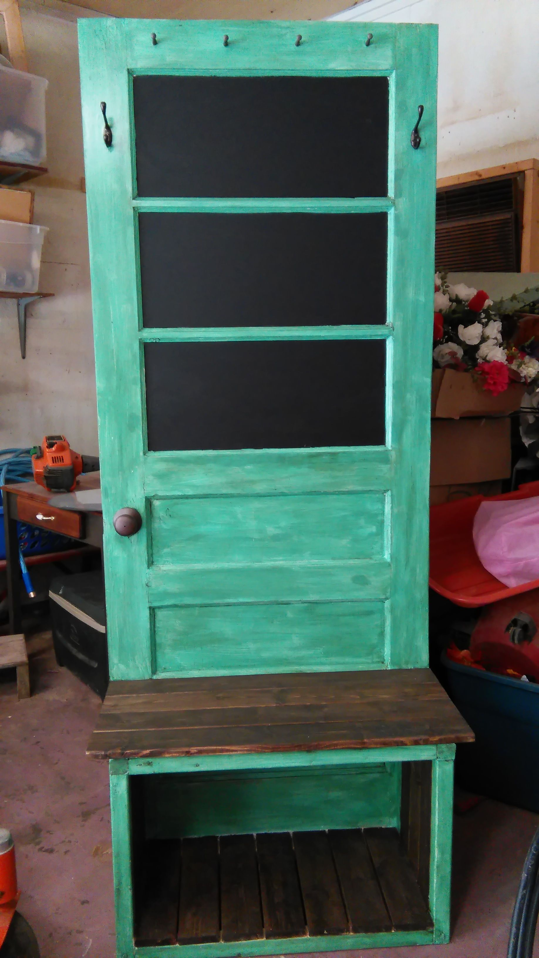 Standard kitchen window height  seafoam colored hall tree from old door  home  pinterest  hall