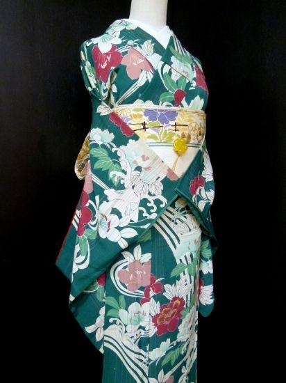 ■ガールズ■アンティーク*牡丹 グリーン 袖長小紋 正絹袷 裄62.5丈146 - アンティーク着物や現代着物なら雅星本店