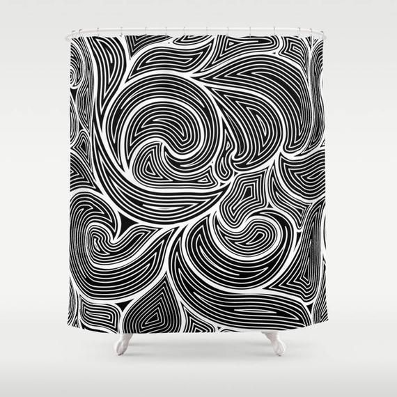 Abstract Curtain – Black and White Shower Curtain , Bath Curtain , Bathroom Decor , Bathroom Curtain , Fabric Bath Curtain , Designer Decor