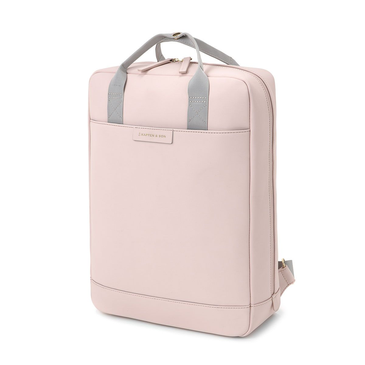 800617e282 Spacious pink backpack with gray handles: waterproof tech-material ✓ two  outer pockets ✓ padded 13 inch laptop pocket ✓ Buy now!