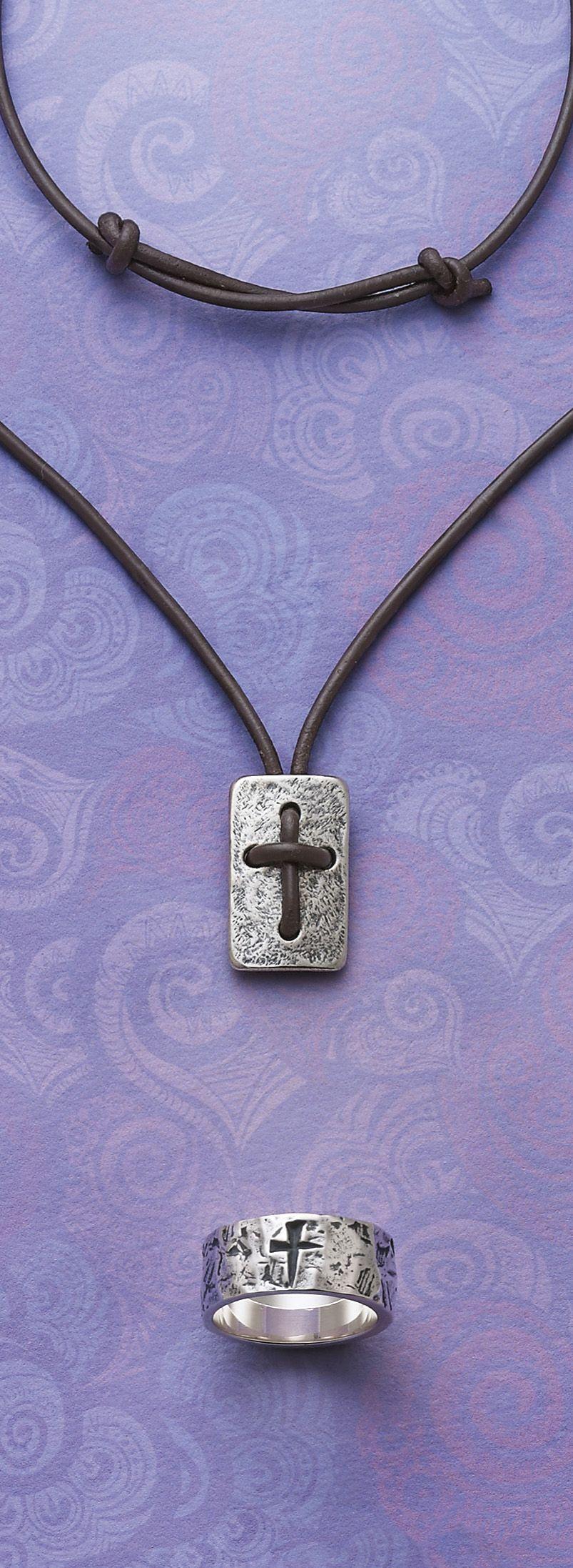 Leather Cross Shield Necklace Symbols Of Faith Cross