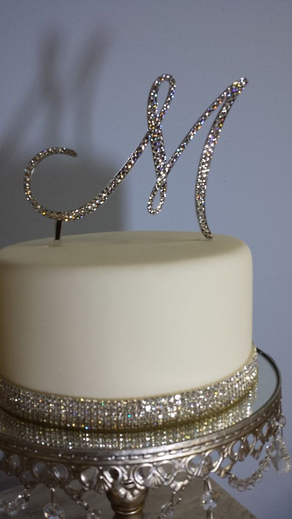 "5"" Tall Initial Monogram Wedding Cake Topper Swarovski Crystal Rhinestone Letter A B C D E F G H I J K L M N O P Q R S T U V W X Y Z on Etsy, $45.00"