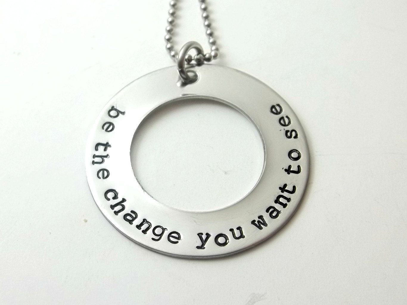 Be The Change Stamped Stainless Steel Washer Metal